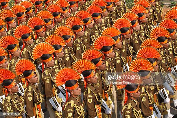 Smartly dressed Contingent of CISF personnel march along Rajpath during the 63rd Republic Day parade on January 26 2012 in New Delhi India Republic...