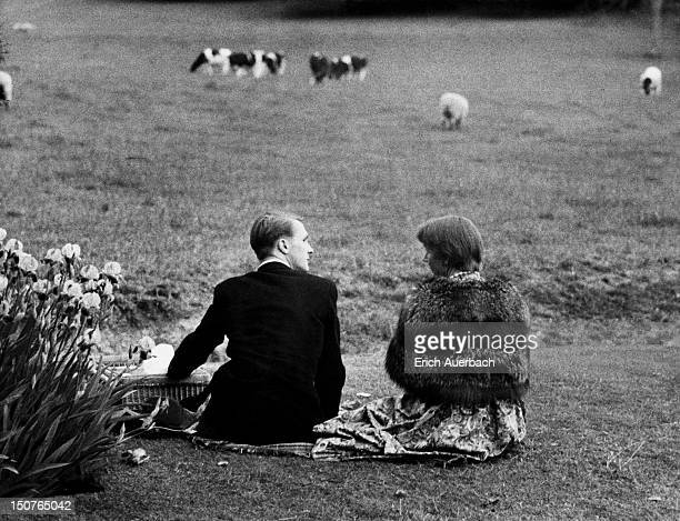 A smartlydressed couple share a picnic during the interval at the Glyndebourne opera festival in East Sussex 28th May 1959