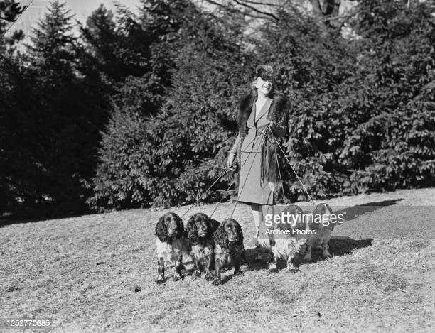 Smartly-dressed woman taking her dogs for a walk, circa 1937.