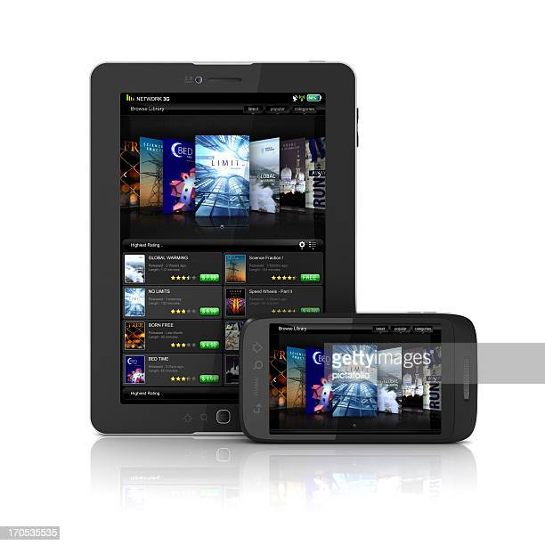smartphone and tablet displaying online ebook library - tv program bildbanksfoton och bilder