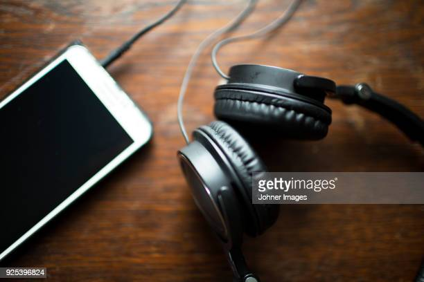 Smartphone connected with headphones