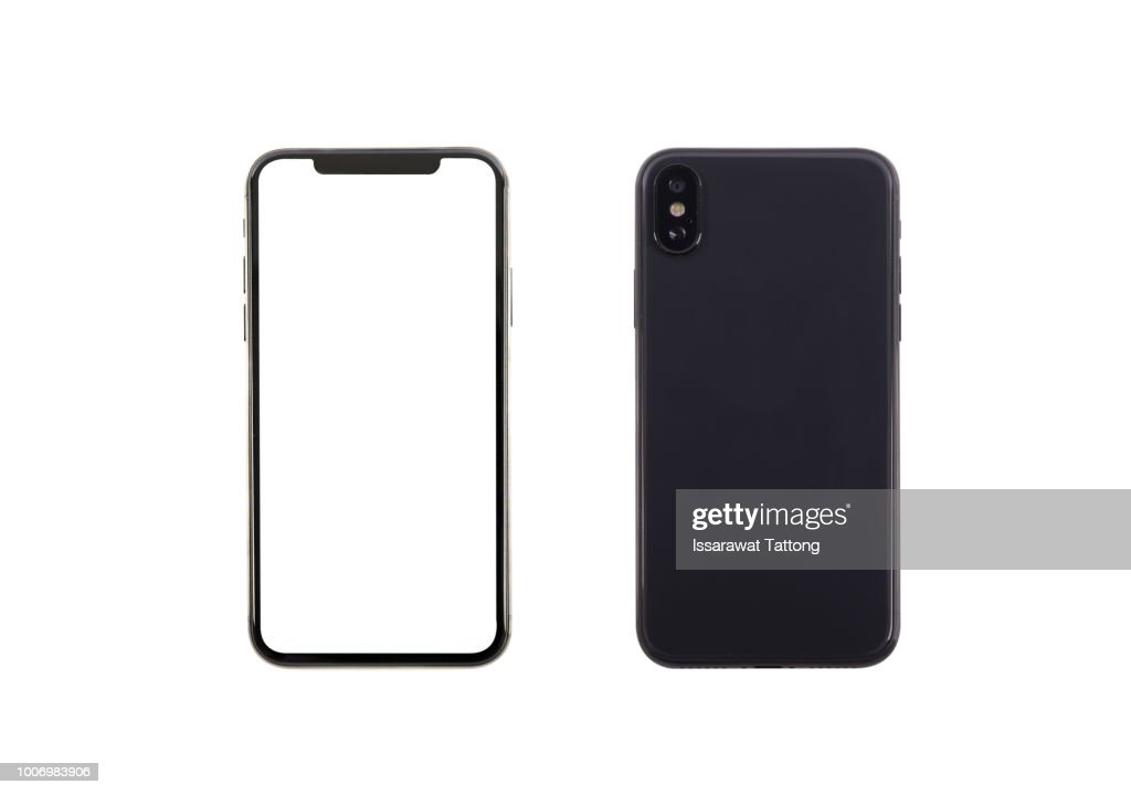Smartphone front and back perspective view isolated on white background : Stock-Foto