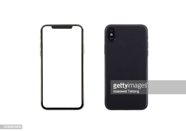 smartphone front and back perspective view isolated on white background - draagbare informatie apparatuur stockfoto's en -beelden