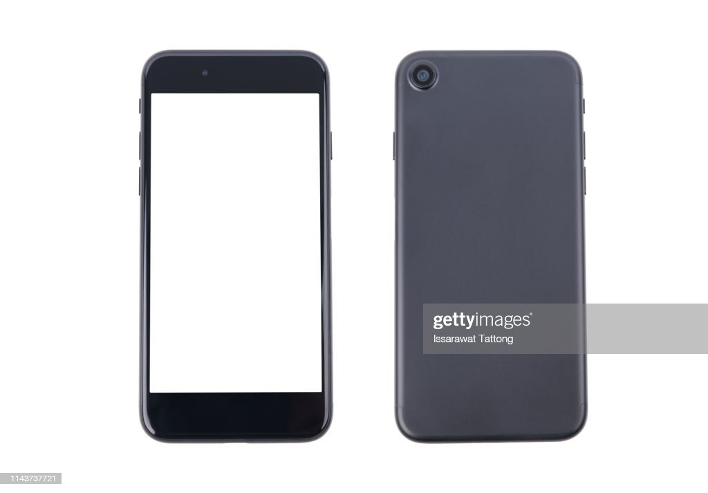 Smartphone front and back perspective view isolated on white background : ストックフォト