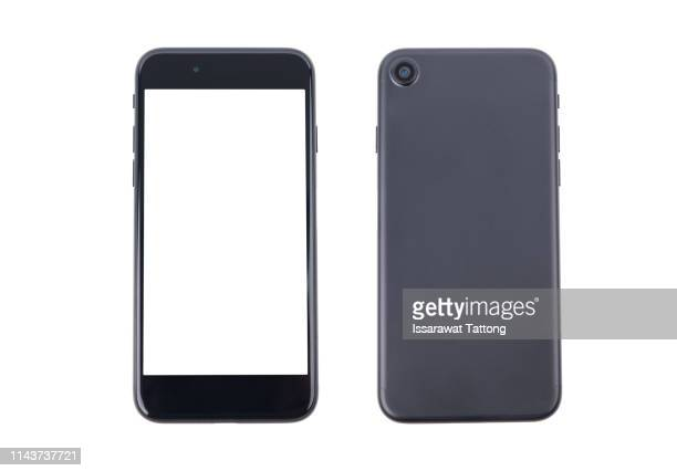 smartphone front and back perspective view isolated on white background - phone icon stock pictures, royalty-free photos & images