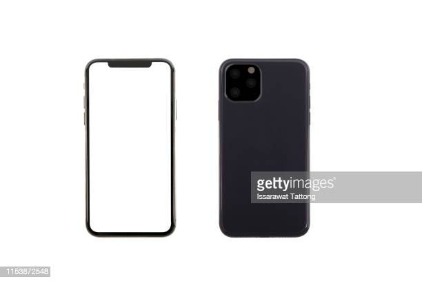 smartphone front and back perspective view isolated on white background - iphone stock pictures, royalty-free photos & images