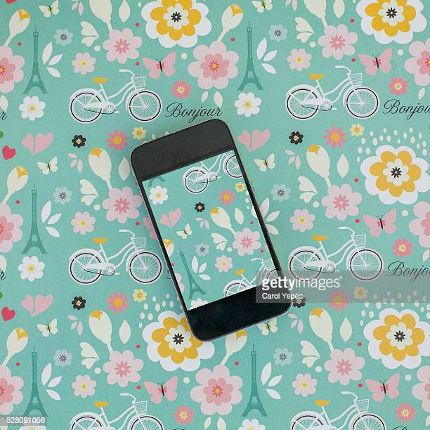 smartphone in a pattern surface