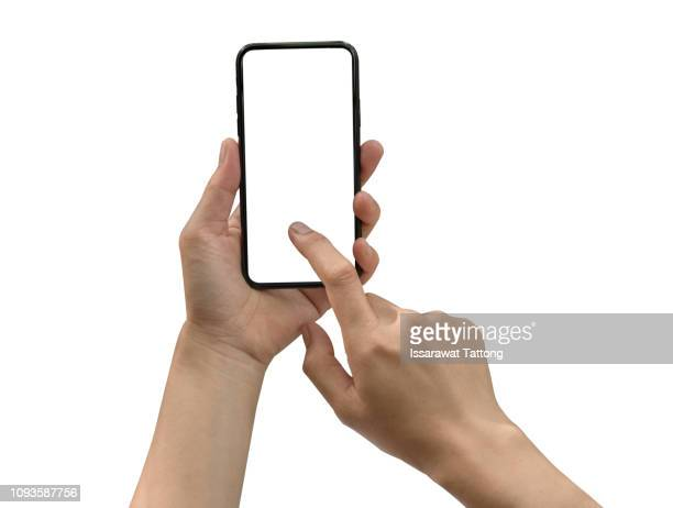 smartphone in female hands taking photo isolated on white blackground - human hand stock pictures, royalty-free photos & images