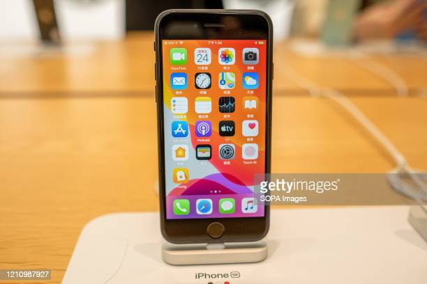 Smartphone iPhone SE black version seen displayed at an American multinational technology company Apple store Apple launched sales of its latest...