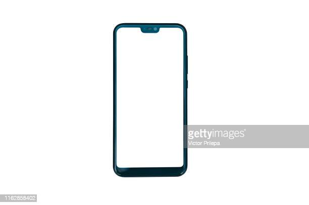 smartphone isolate closeup, on a white background. - iphone mockup stock pictures, royalty-free photos & images