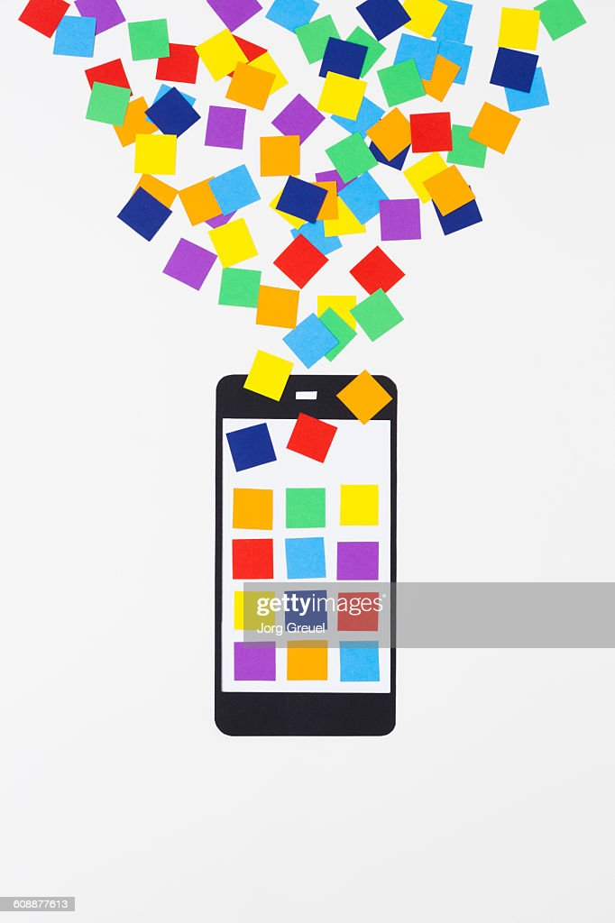 Smartphone made of paper : Stock Photo