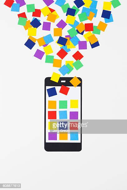 smartphone made of paper - phone icon stock pictures, royalty-free photos & images