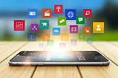 Smartphone media technology and social network concept