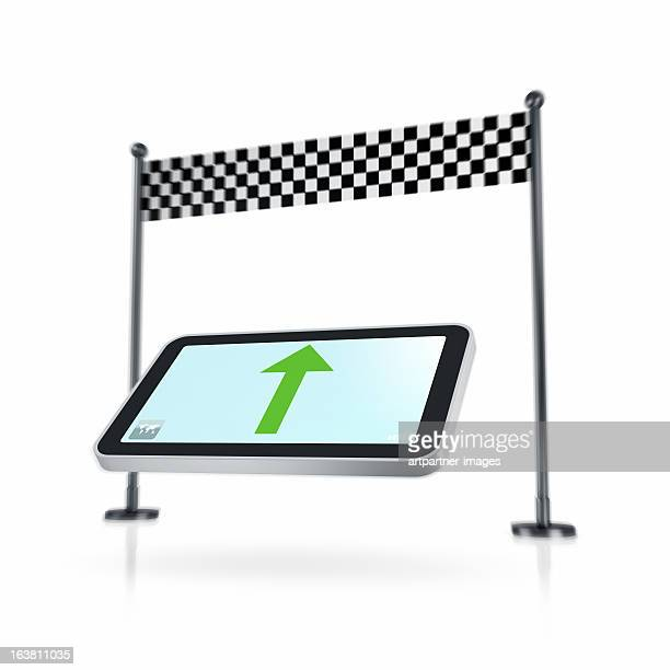 Smartphone navigation and chequered flag on white