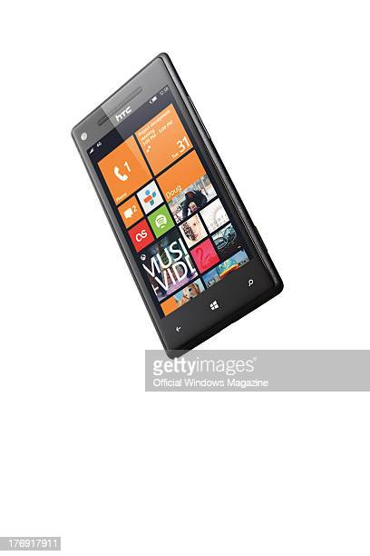 A HTC 8X smartphone photographed during a studio shoot for Official Windows Magazine November 16 2012