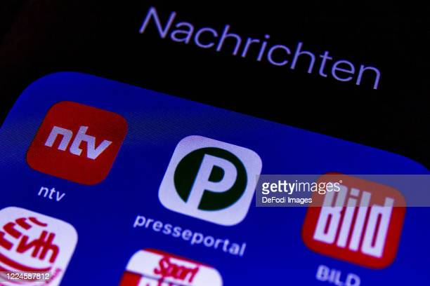 Smartphone screen is seen with the News apps Bild and Presseportal on May 11, 2020 in Bochum, Germany.