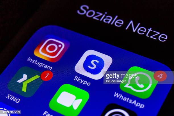 Smartphone screen is seen with the Social Media apps Skype, Whatsapp and Instagram on May 11, 2020 in Bochum, Germany.