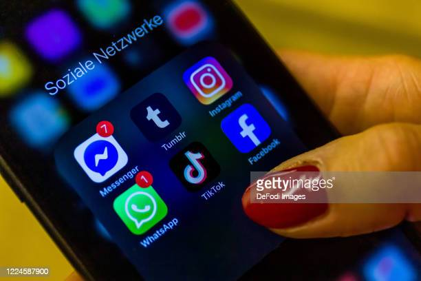 Smartphone screen is seen with the Social Media apps tumblr, Whatsapp, TikTok, Facebook and Instagram on May 11, 2020 in Bochum, Germany.