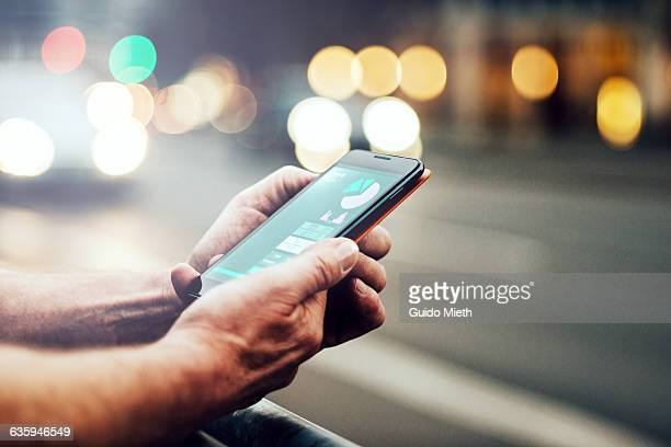 smartphone showing health data. - mobile phone stock pictures, royalty-free photos & images
