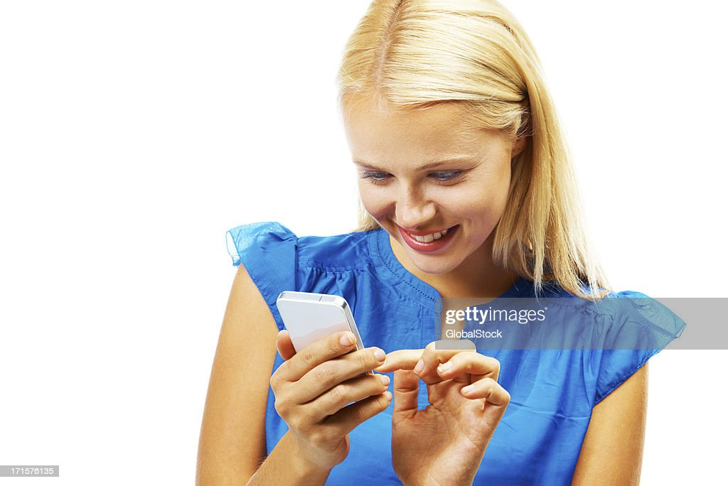 Smartphone technology at her fingertips : Stock Photo