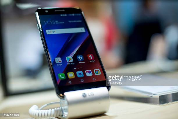 LG K10 smartphone Thousands of people participate in the Mobile World Congress 2018 in Barcelona Spain from February 26 to March 1 2018