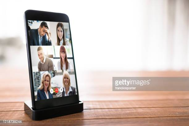 smartphone with a video calling - video still stock pictures, royalty-free photos & images