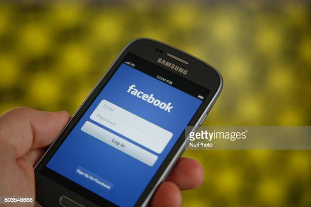 A smartphone with the Facebook login page is seen in this photo illustration on 29 June in BydgoszczPoland