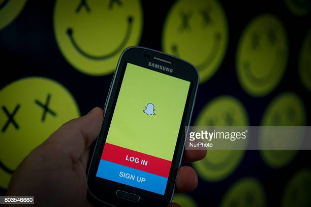 A smartphone with the Snapchat app is seen in this photo illustration on 29 June in BydgoszczPoland
