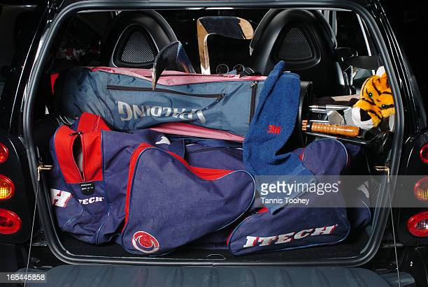 SMARTtrunkFebruary 12 2004The small trunk of a tiny Mercedes Benz SMART car actually fit a hockey bag and a golf bag and two sticksshot at the Auto...