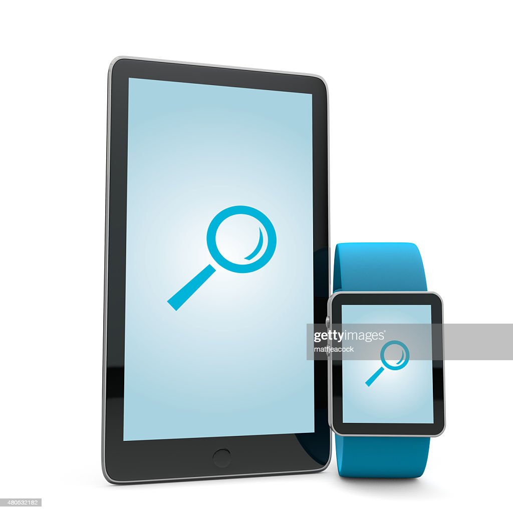 Smartwatch and phone search : Stock Photo