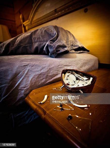 smashed annoying alarm clock - funny wake up stock pictures, royalty-free photos & images