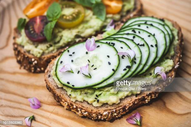 Smashed Avocado on Toast with Cucumber, Nigella Seeds and Wildflowers