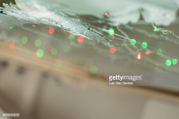 Smashed cafeteria  window in christmast