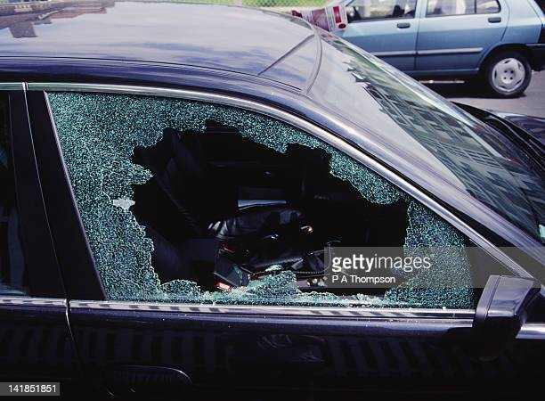 smashed car window, france - stealing stock pictures, royalty-free photos & images