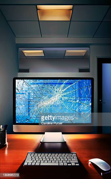 Smashed computer screen