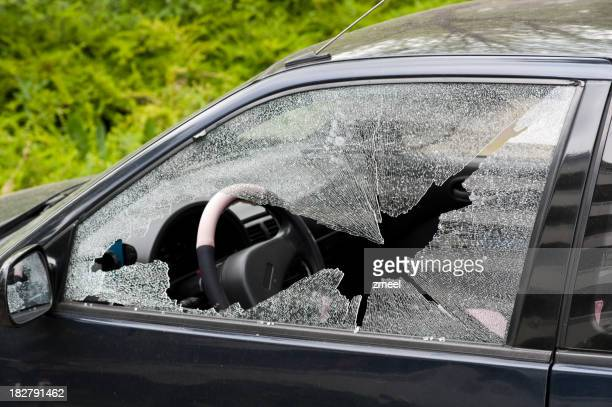 Smashed driver's side car window