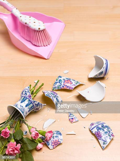smashed flower vase with dustpan and brush