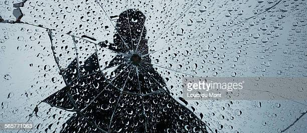 Smashed mirror raindrops
