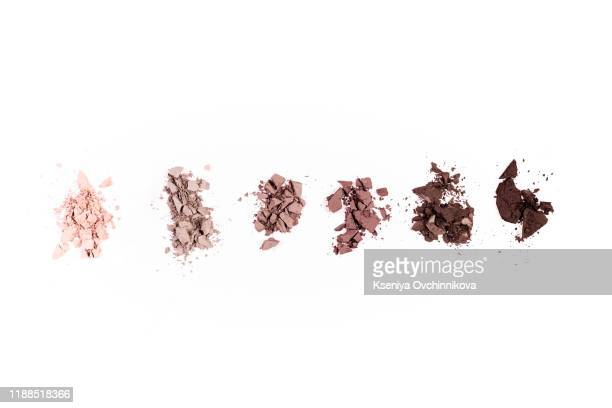 a smashed, neutral toned eyeshadow make up palette isolated on a white background - eyeshadow stock pictures, royalty-free photos & images