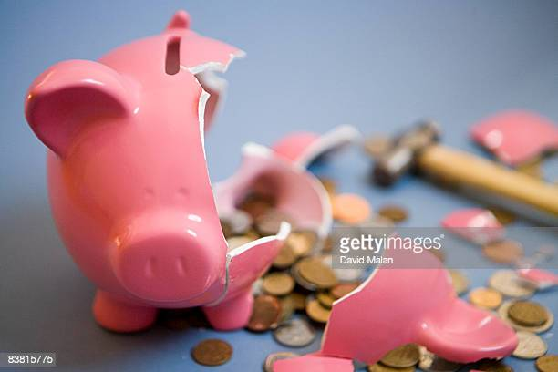 Smashed open piggy bank