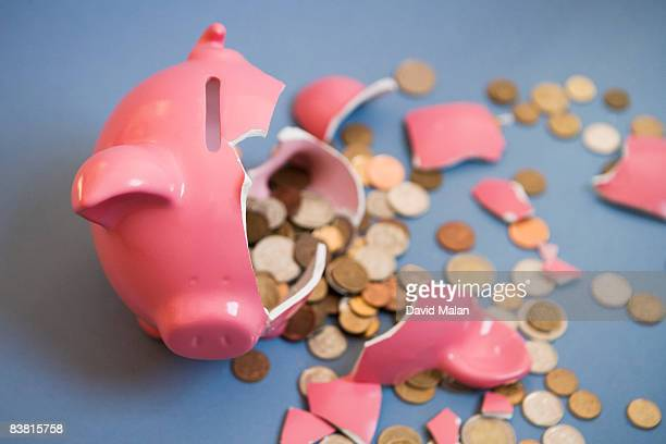 smashed open piggy bank taken from above