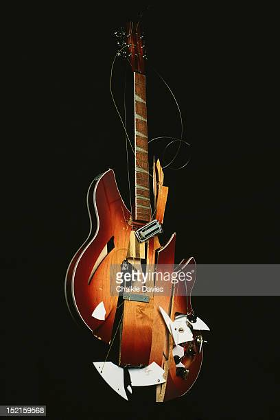 A smashed Rickenbacker 360/12V64 12string guitar owned by Pete Townshend of The Who Texas 1989