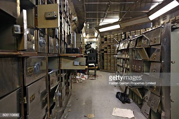 Smashed safe deposit boxes are pictured in the underground vault of the Hatton Garden Safe Deposit Company which was raided in what has been called...