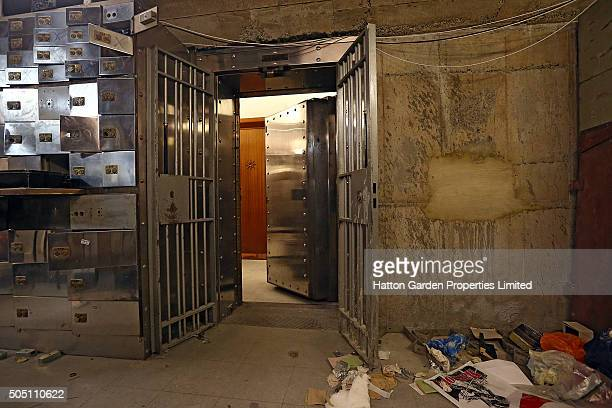 Smashed safe deposit boxes, the fortified entrance and the sealed hole that had been cut through the 50cm-thick concrete wall are pictured in the...