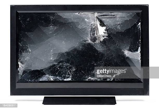 smashed up flat screen hdtv. - shattered glass stock pictures, royalty-free photos & images