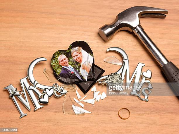 smashed wedding picture frame - domestic violence stock pictures, royalty-free photos & images