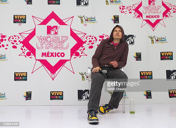 Smashing Pumpkins lead singer Billy Corgan attends a press conference after his performance during the 2010 MTV World Stages concert at the Auditorio...