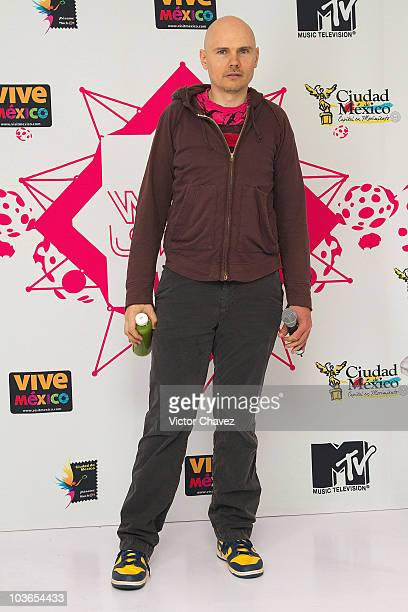Smashing Pumpkins lead singer Billy Corgan poses for photographers after his performance during the 2010 MTV World Stages concert at the Auditorio...