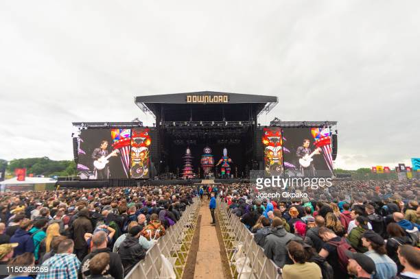 Smashing Pumpkins perform on stage during Download festival 2019 at Donington Park on June 16 2019 in Castle Donington England