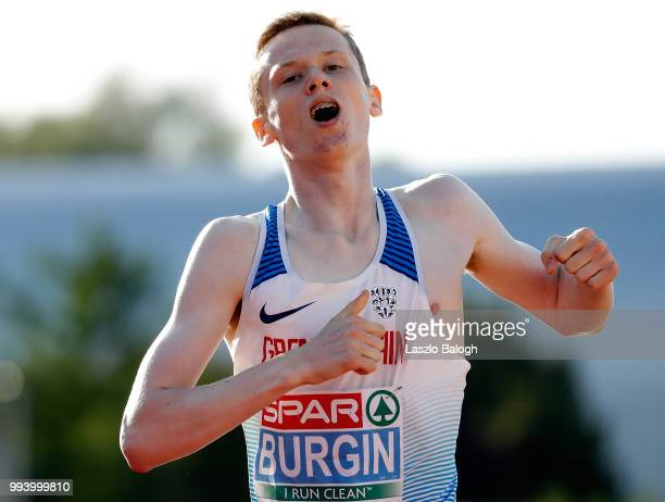 SMax Burgin of Great Britain celebrates his victory at the 800m run during European Athletics U18 European Championship July 8 2018 in Gyor Hungary